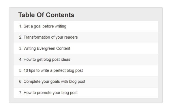 Simple table of contents blog structure