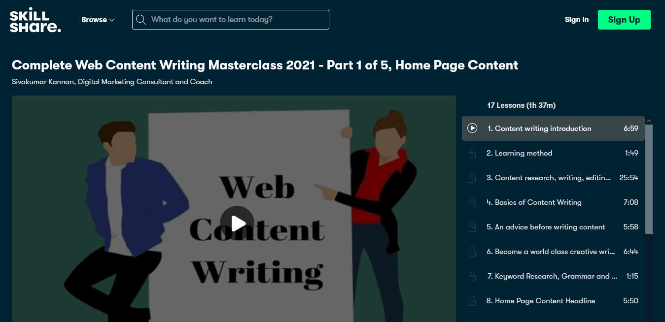 Complete Web Content Writing Masterclass 2021 - Part 1 of 5, Home Page Content Sivakumar Kannan Skill