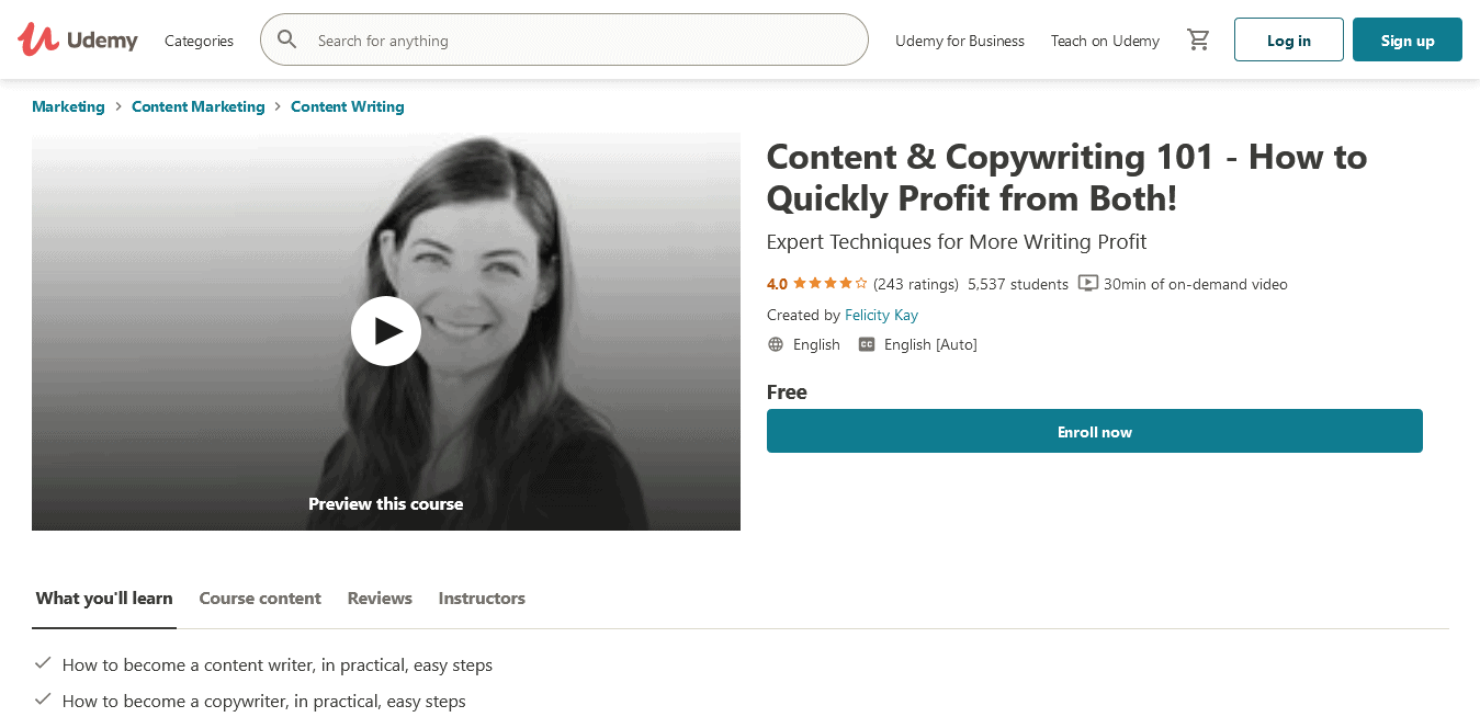 Free Content Writing Tutorial - Content Copywriting 101 - How to Quickly Profit from Both